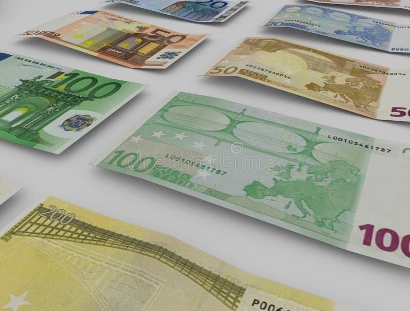 Euro note con la riflessione fotografie stock libere da diritti
