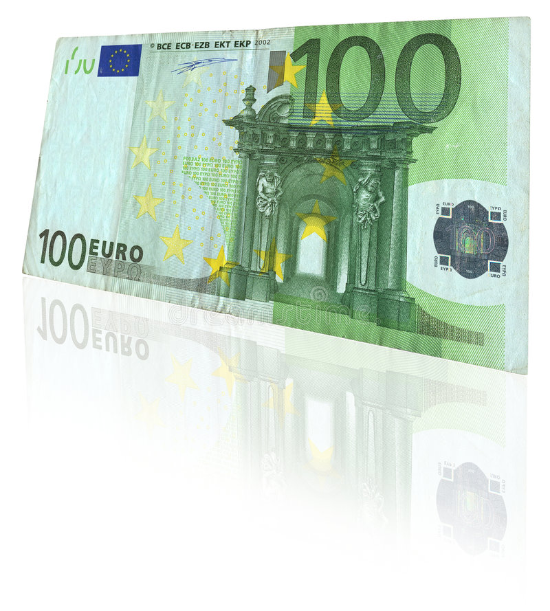 Euro note with reflection royalty free stock image