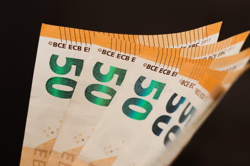 50 euro notes éventent l'image photos stock