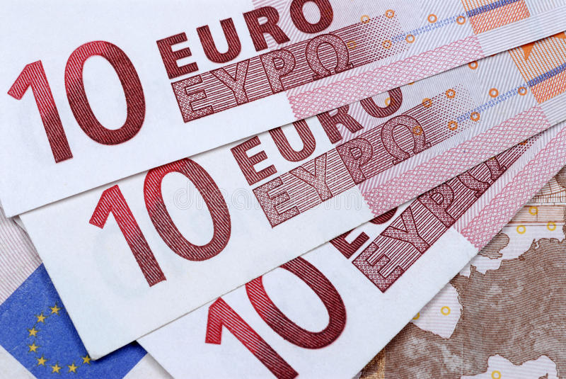 Euro 10 notes images stock