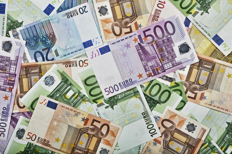 Close-up pattern of Euro paper currency royalty free stock photos