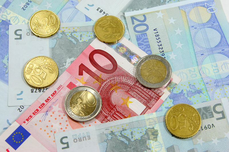 Download Euro notes and coins stock image. Image of exchange, financial - 2527275