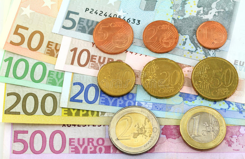 Euro Notes And Coins Royalty Free Stock Images
