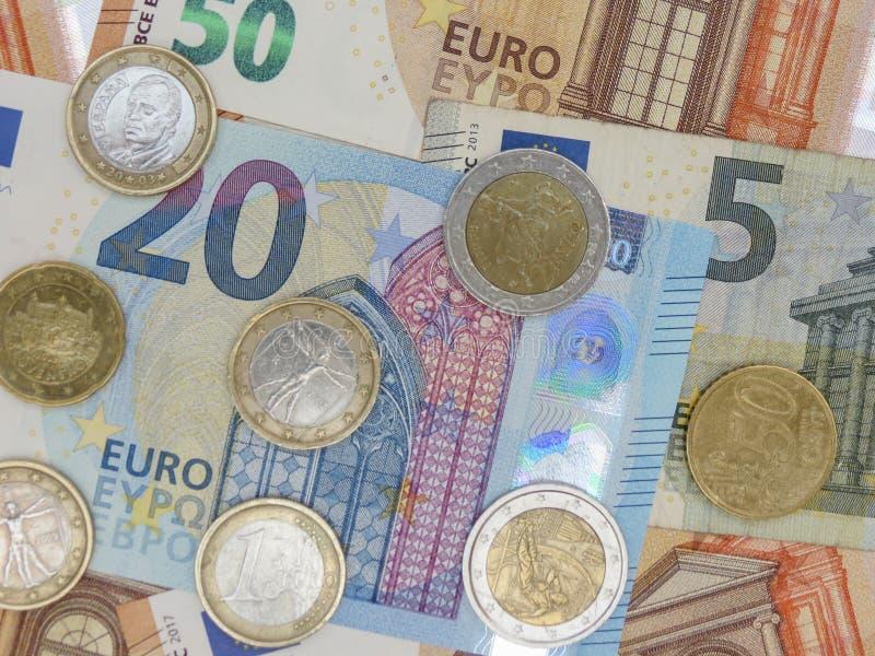 Euro notes and coins, European Union royalty free stock photos