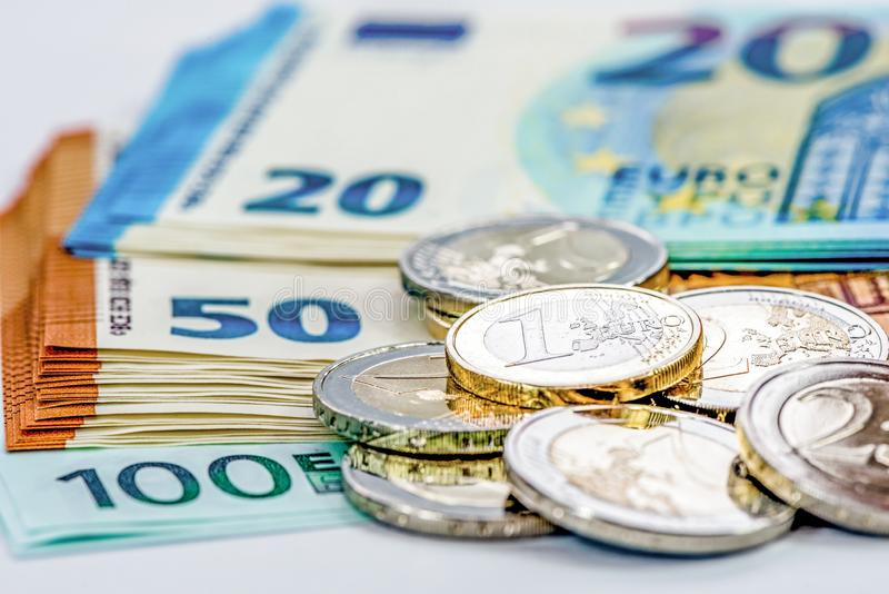 Euro coins and Euro notes royalty free stock image