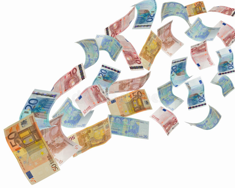 Euro notes flying away stock photography