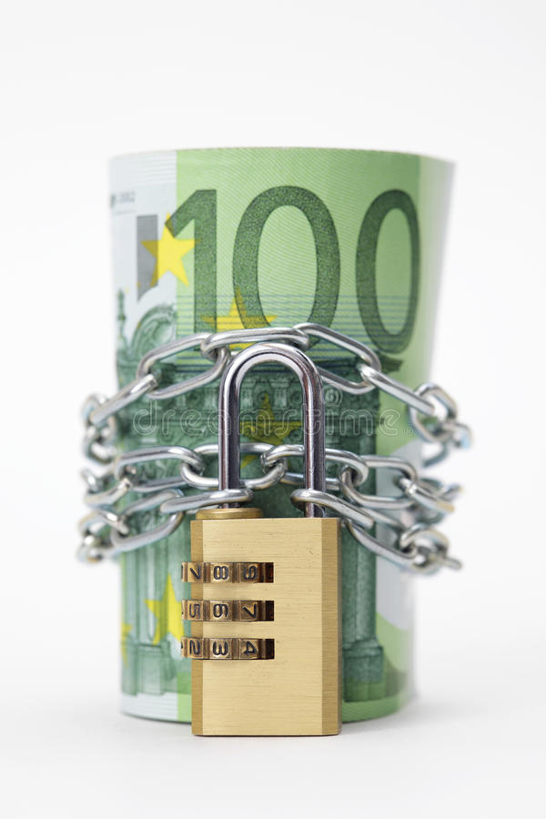 Download Euro Notes With Lock And Chain Stock Photo - Image: 15223832