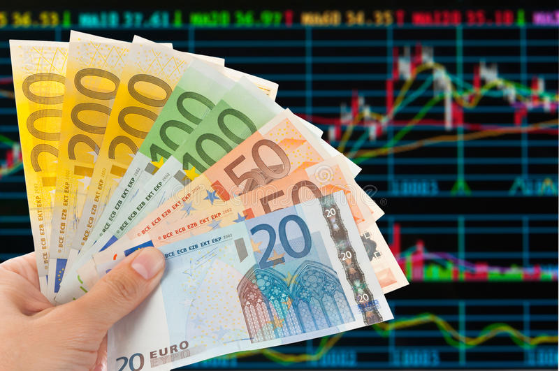 Euro notes with sotck trade analysis royalty free stock photography