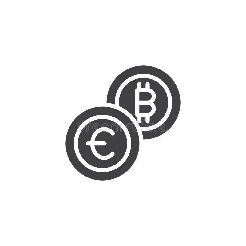 Euro- och för vektor för bitcoinvalutautbyte symbol royaltyfri illustrationer