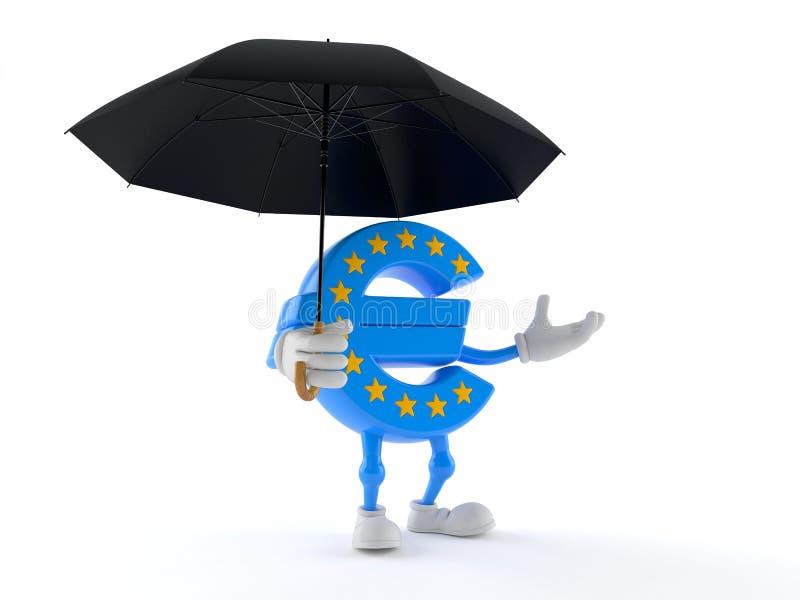 Euro ombrello della tenuta del carattere di valuta illustrazione di stock