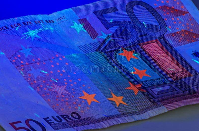 Euro onder ultraviolet licht royalty-vrije stock foto