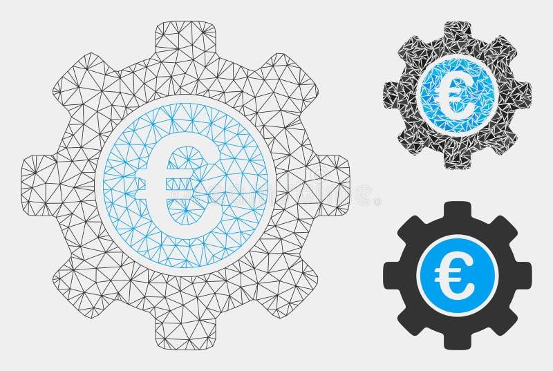 Euro Ontwikkelingstoestel Vector het Mozaïekpictogram van Mesh Wire Frame Model en van de Driehoek royalty-vrije illustratie