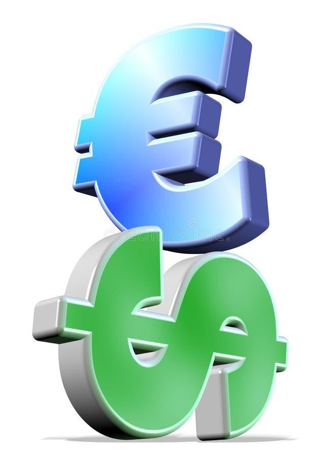 Euro op Dollar stock illustratie