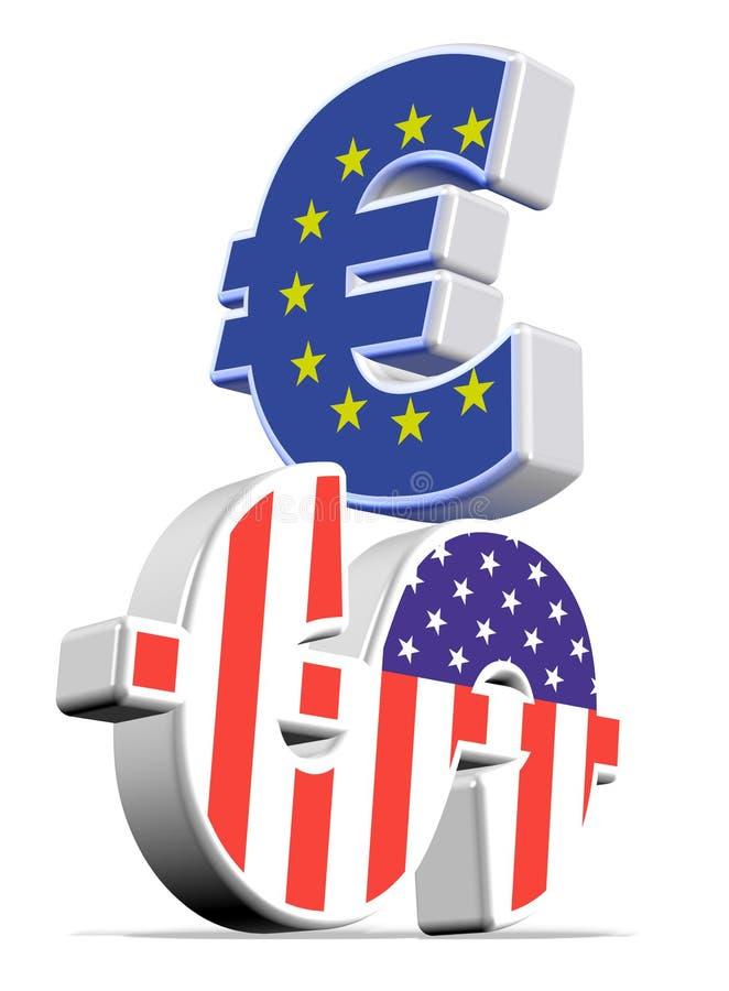 Euro op Dollar royalty-vrije illustratie