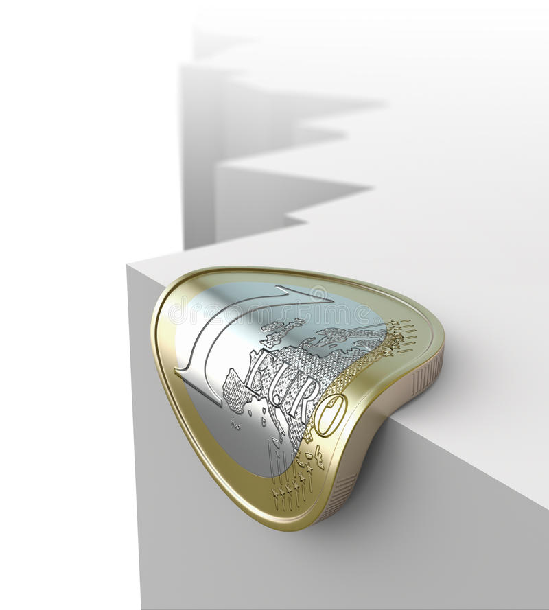 Euro over abyss. 3D concept with euro coin over abyss stock illustration