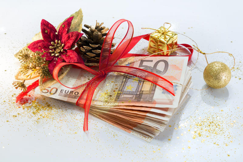 Euro package for gift christmas stock photos