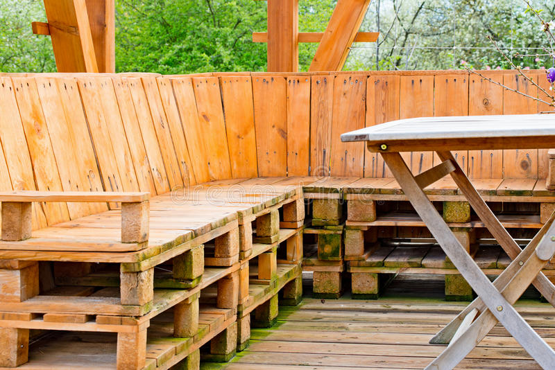 Euro palette Wooden bench royalty free stock image