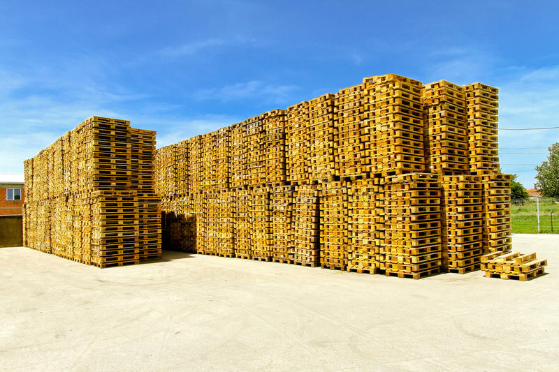 Euro pallets. For cargo and logistic at warehouse stock image