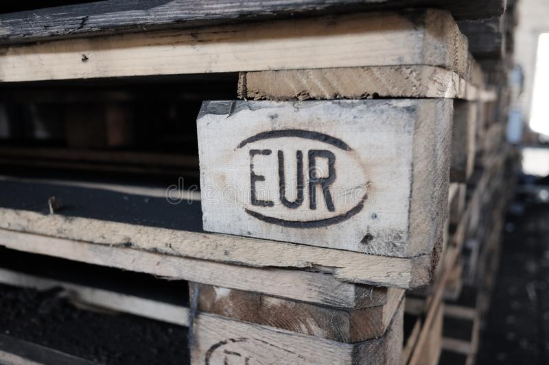 Euro pallets stacked. Wood material royalty free stock photography