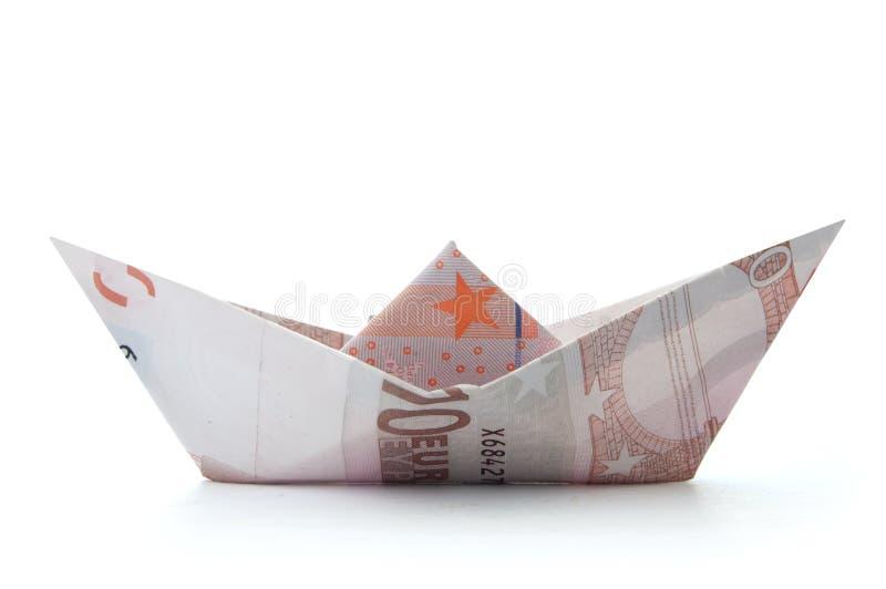 Euro papierowa łódź obrazy royalty free