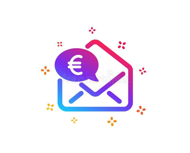 Euro par l'interm?diaire d'ic?ne de courrier Envoyez ou recevez le signe d'argent Vecteur illustration libre de droits