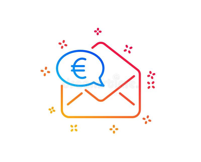 Euro par l'interm?diaire de ligne ic?ne de courrier Envoyez ou recevez le signe d'argent Vecteur illustration libre de droits