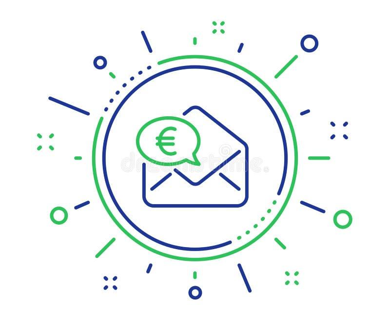 Euro par l'interm?diaire de ligne ic?ne de courrier Envoyez ou recevez le signe d'argent Vecteur illustration stock