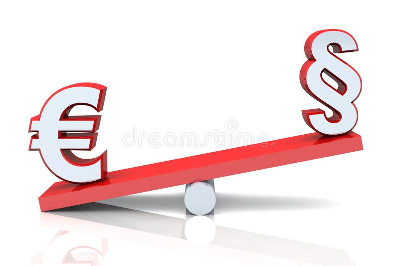 Euro and paragraph signs. Conceptual illustration of a Euro sign on a see saw with a paragraph symbol, white background royalty free illustration