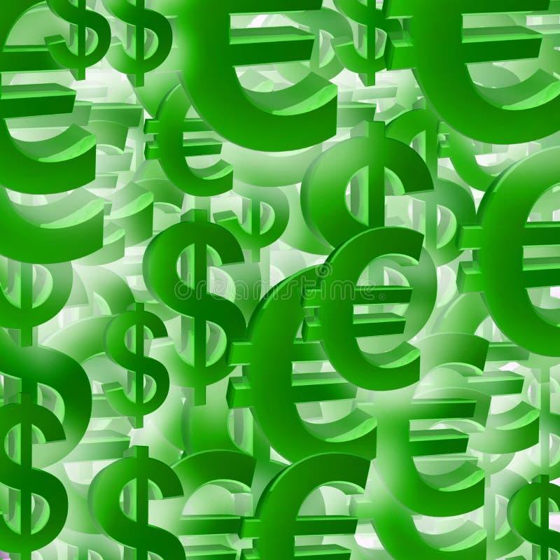 Euro patten di simbolo del dollaro illustrazione di stock