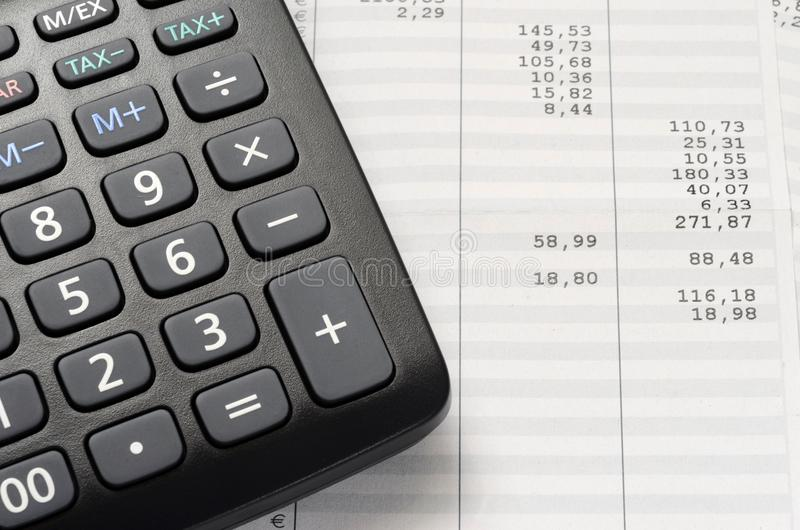 Euro Pay slip and calculator stock photo