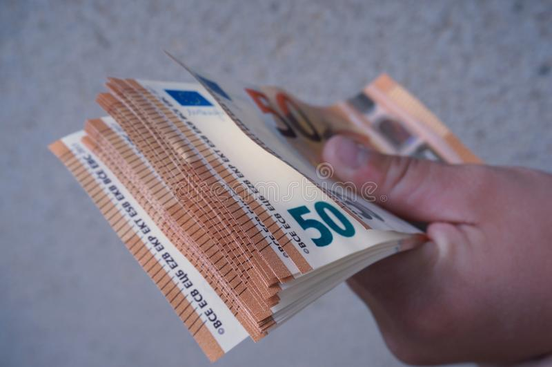 50 euro pengar arkivfoton