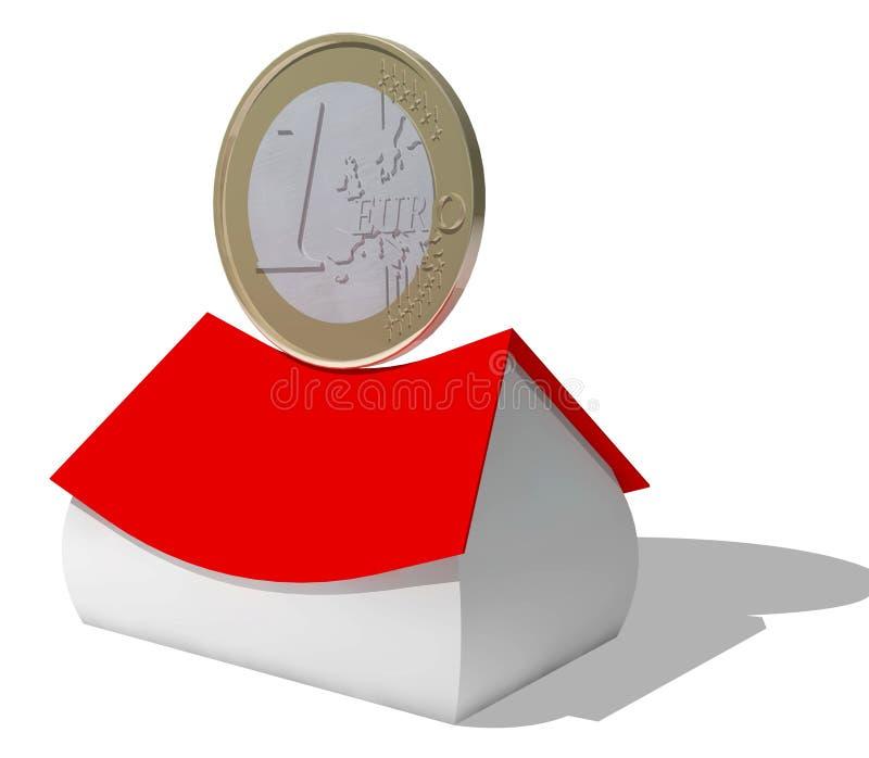 Euro pièce de monnaie sur la maison illustration de vecteur