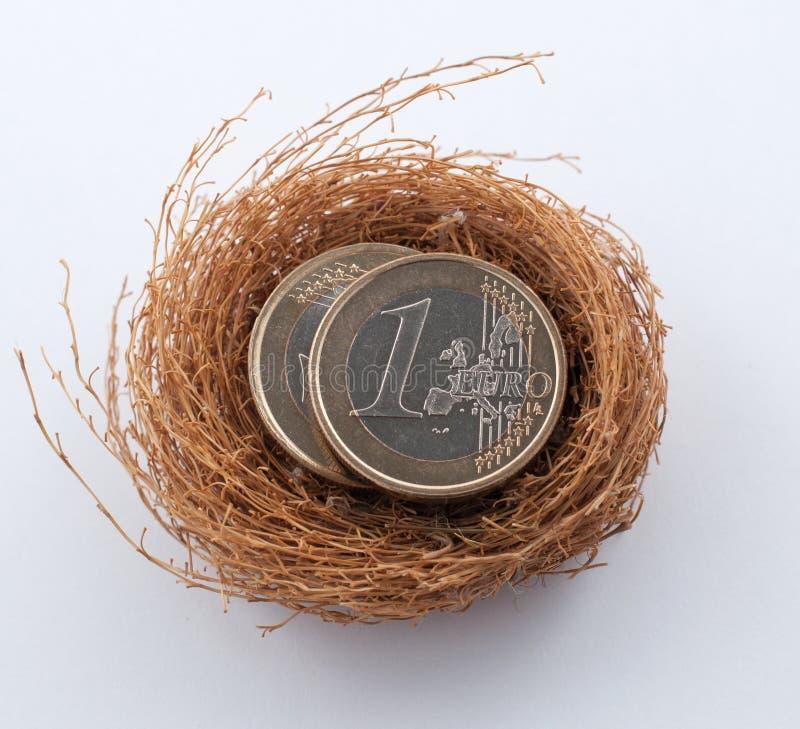 Euro pièces de monnaie dans le nid photographie stock libre de droits