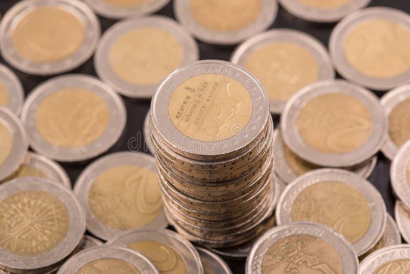 Euro pi?ces de monnaie photographie stock libre de droits