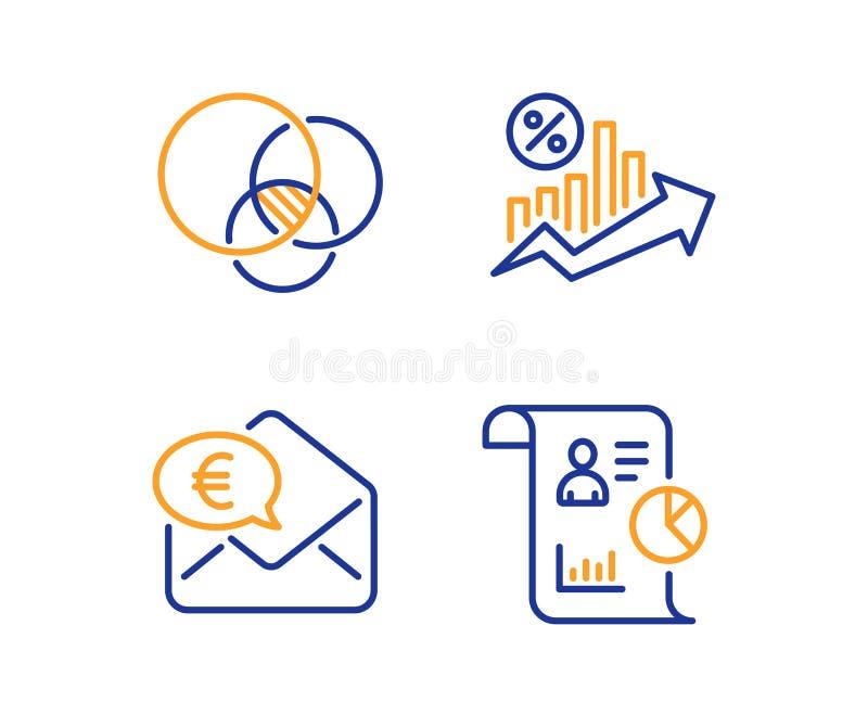 Euro pieni?dze, Euler diagram i po?yczka procent ikony ustawia?, Raportowy znak wektor ilustracji