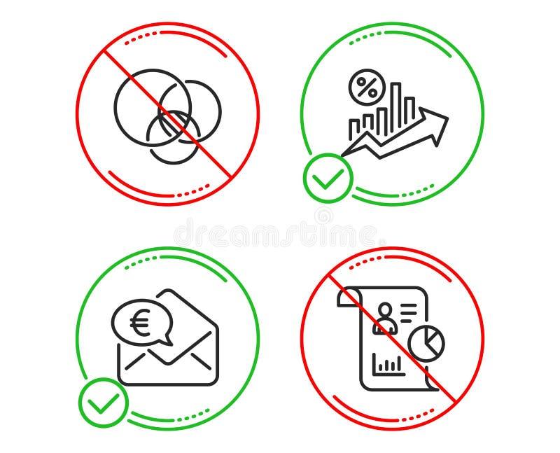 Euro pieni?dze, Euler diagram i po?yczka procent ikony ustawia?, Raportowy znak wektor ilustracja wektor