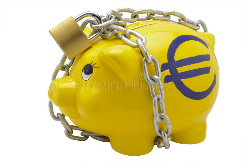 Euro piggy bank stock images
