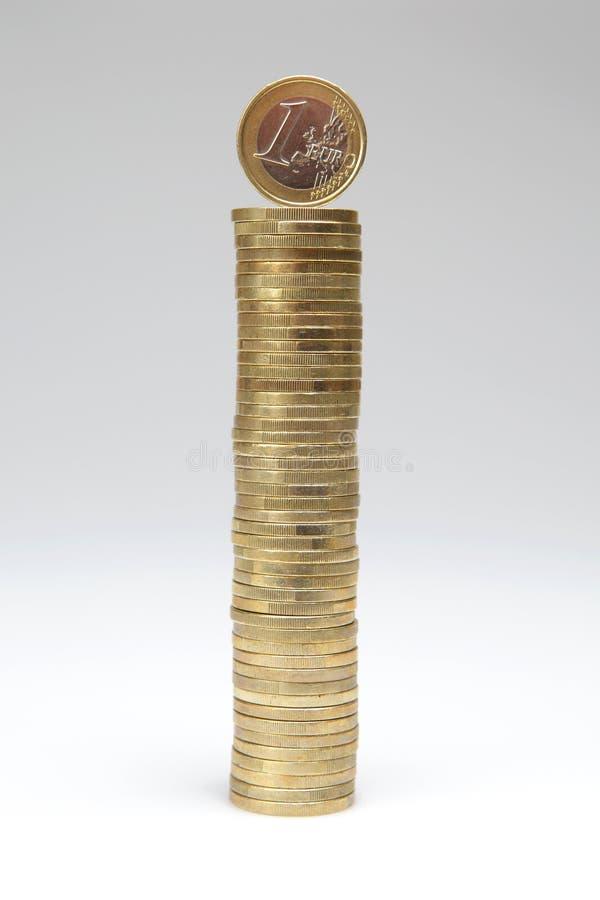 Euro- pilha da moeda imagem de stock