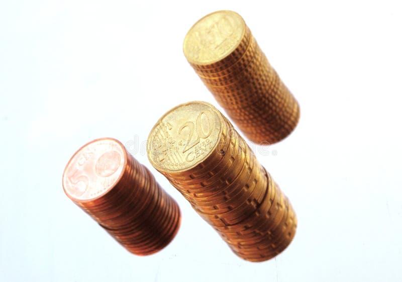 Euro- pilha do centavo fotos de stock