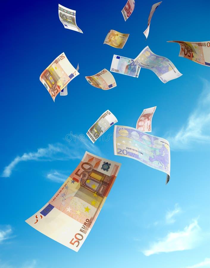 Euro pluie d'argent photographie stock