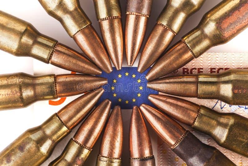 Euro pociski i flaga zdjęcia royalty free