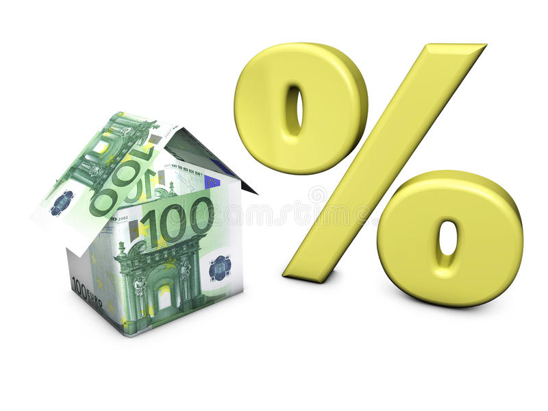 Euro- por cento da forma da casa ilustração royalty free