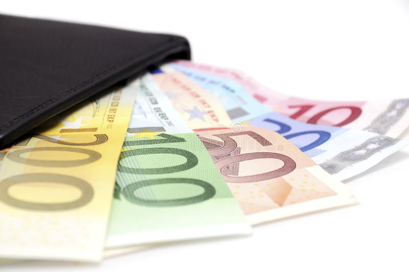 Euro in portefeuille stock afbeeldingen