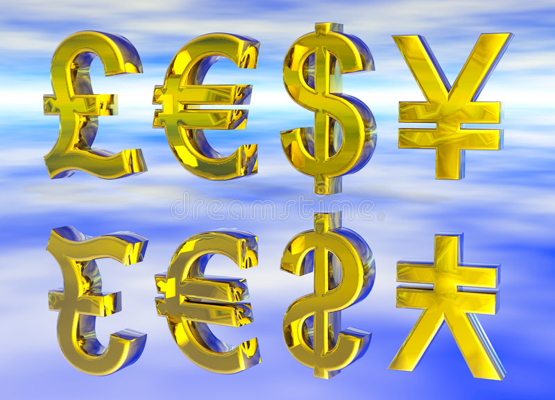 Euro Pound Dollar and Yen Symbols in Gold. With Reflection vector illustration