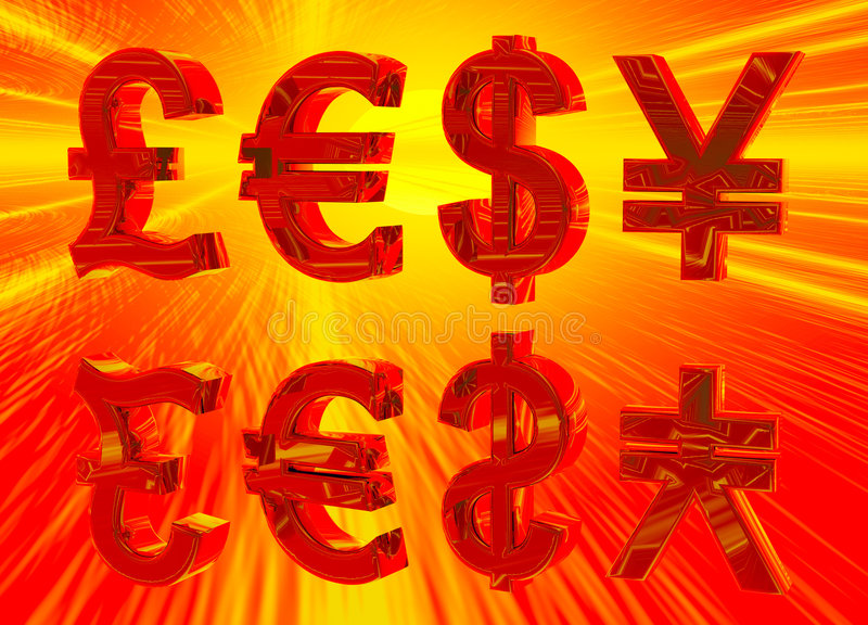 Euro Pound Dollar and Yen Symbols in Gold. Red Firey Euro Pound Dollar and Yen Symbols in Gold with Reflection stock illustration