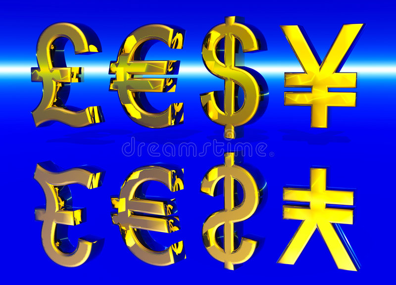 Euro Pound Dollar and Yen Symbols in Gold. With Reflection stock illustration