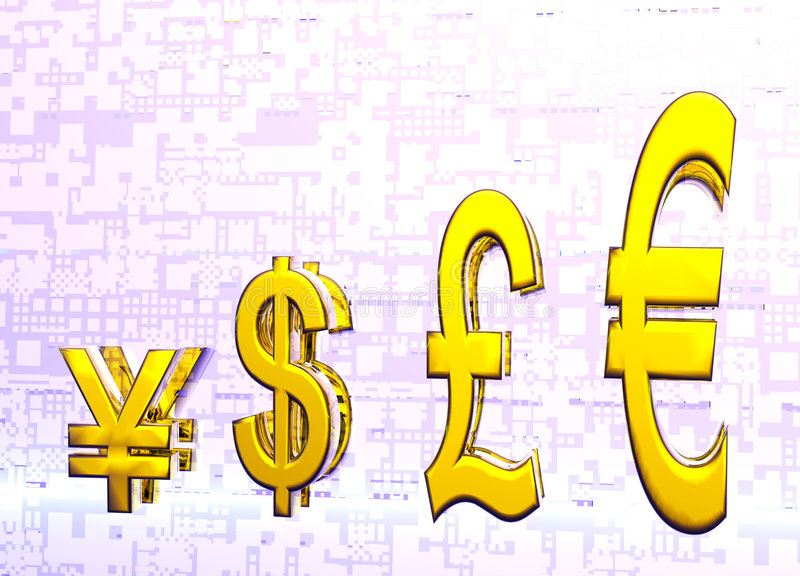 Euro Pound Dollar and Yen Symbols in Gold Graph. Euro Pound Dollar and Yen Symbols in Gold with Reflection in Graph or Chart Format stock illustration