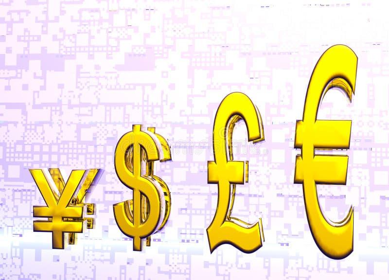 Euro Pound Dollar and Yen Symbols in Gold Graph stock illustration