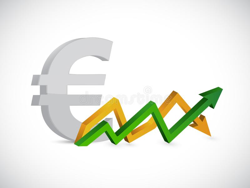 Euro profits. up and down arrow graph stock illustration