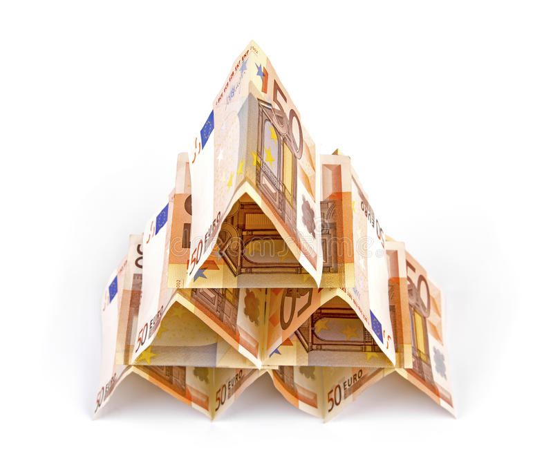Euro pyramide d'argent photographie stock